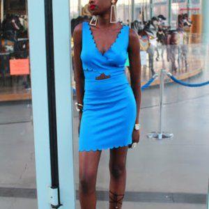 Top Shop Blue Scallop Cut Out Body Con Dress